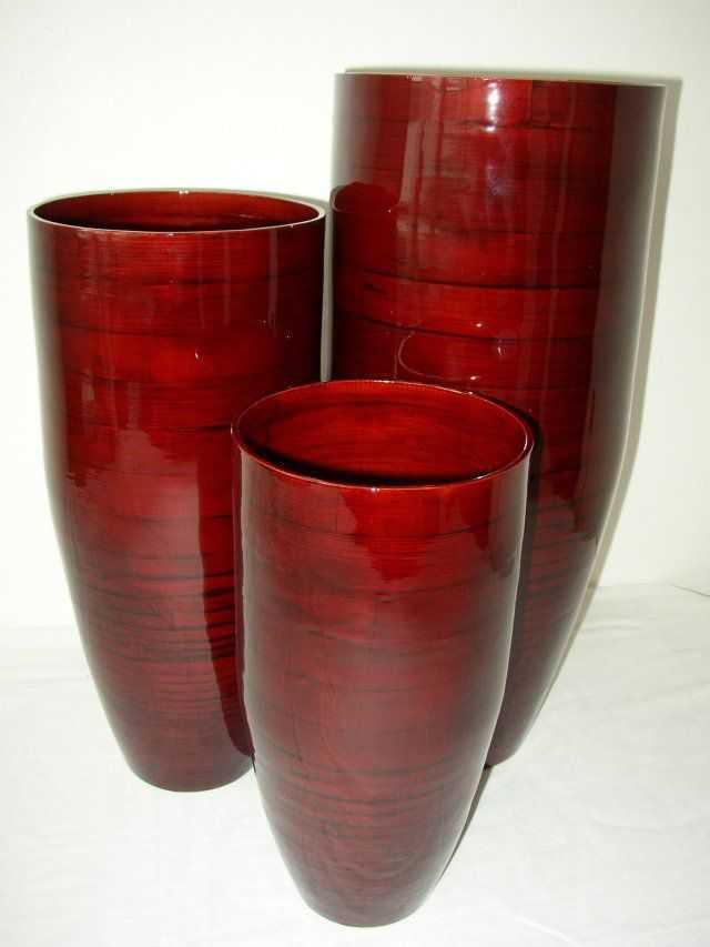Bambusová váza klasik červená L | RYCHLÉ DODÁNÍ