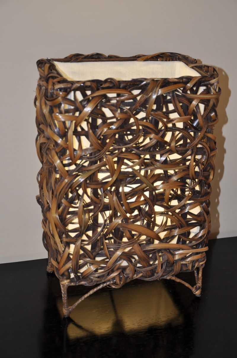 Lampa bambusová malá rovná včetně LED žárovky | RYCHLÉ DODÁNÍ