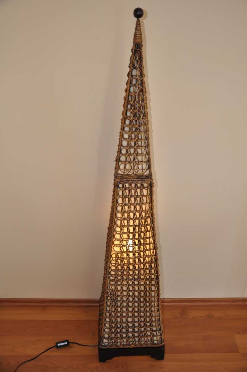 Lampa ratanová vysoká jehlan včetně LED žárovky SLEVA 7 % | RYCHLÉ DODÁNÍ