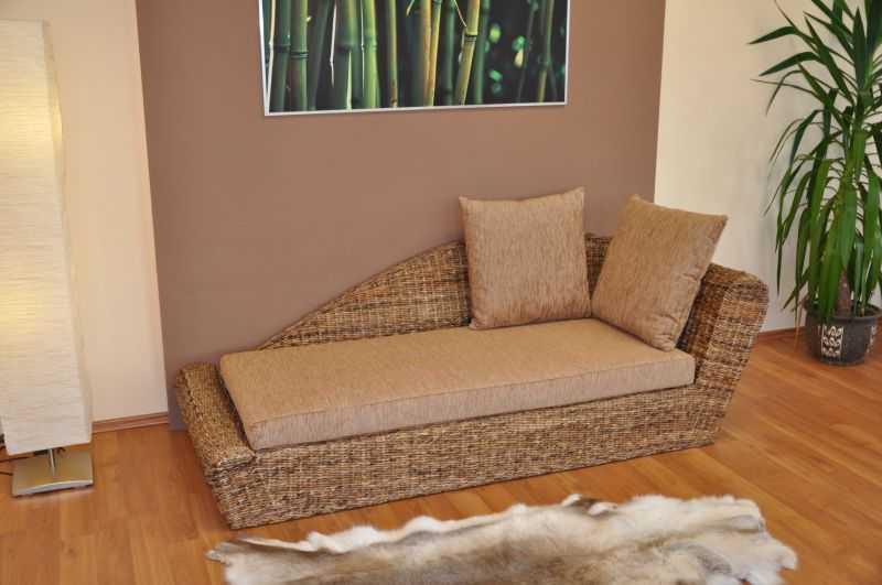Odpočinková pohovka levá banánový list polstr hnědý