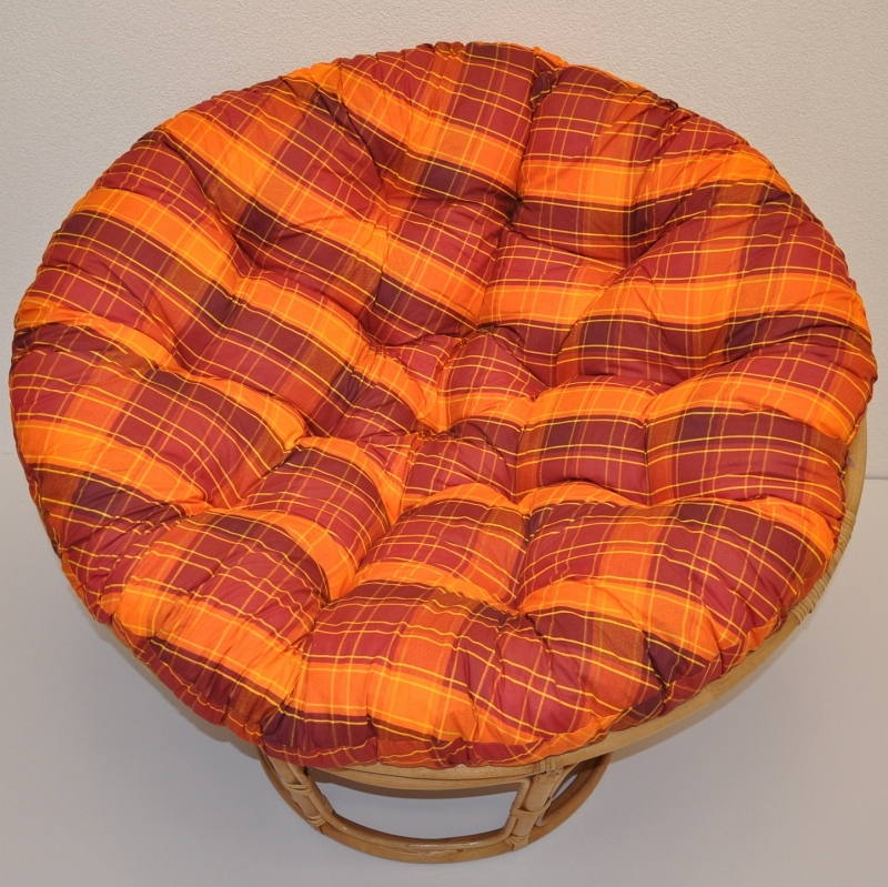 Polstr na křeslo papasan 110 cm oranžová kostka | RYCHLÉ DODÁNÍ