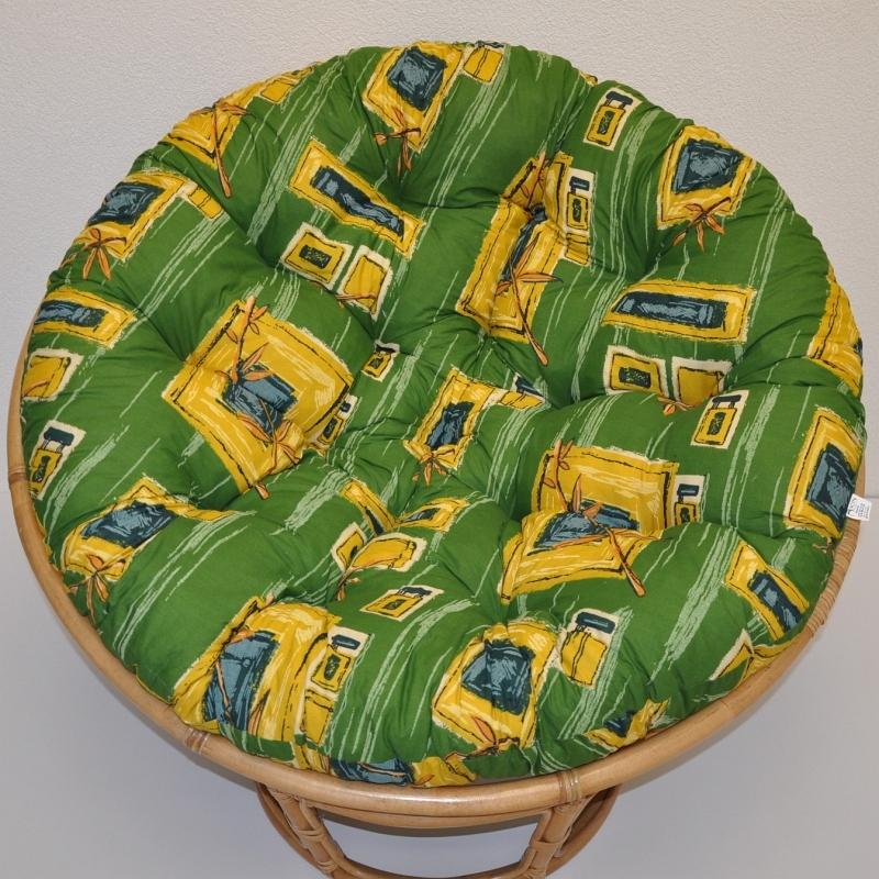 Polstr na křeslo papasan 110 cm zelený
