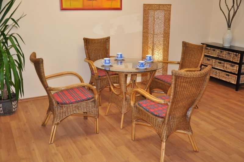 Ratanová jídelní souprava Wanuta brown wash polstr červený SLEVA 8 % | RYCHLÉ DODÁNÍ