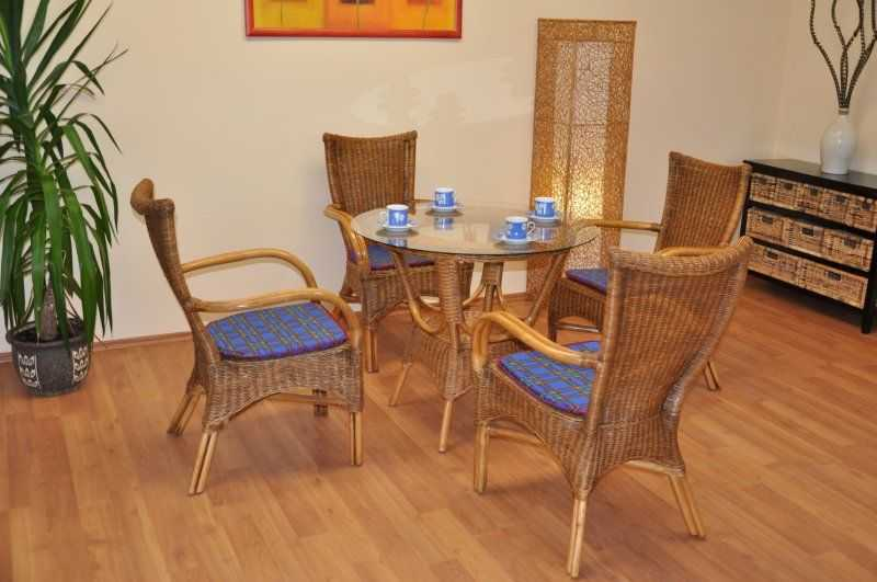 Ratanová jídelní souprava Wanuta brown wash polstr modrý SLEVA 8 % | RYCHLÉ DODÁNÍ