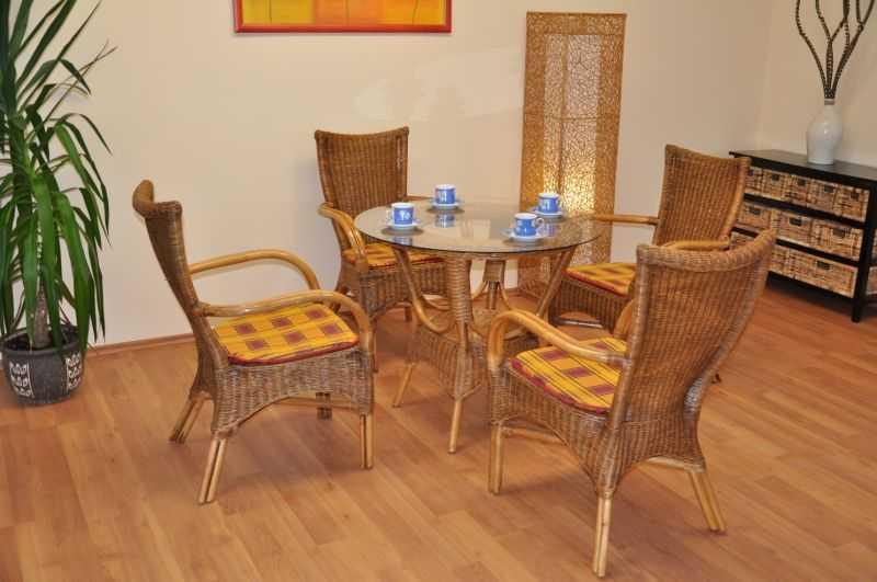 Ratanová jídelní souprava Wanuta brown wash polstr okrový SLEVA 8 % | RYCHLÉ DODÁNÍ
