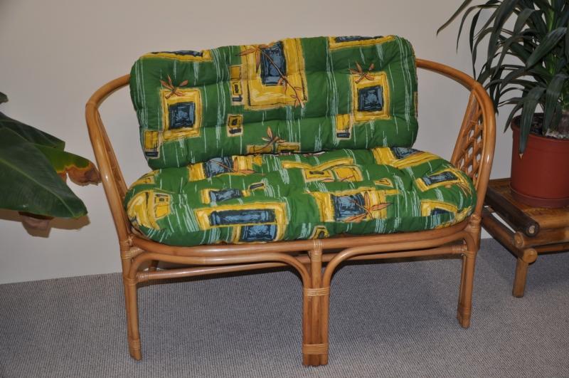 Ratanová lavice Bahama medová polstr zelený SLEVA 7 % | RYCHLÉ DODÁNÍ