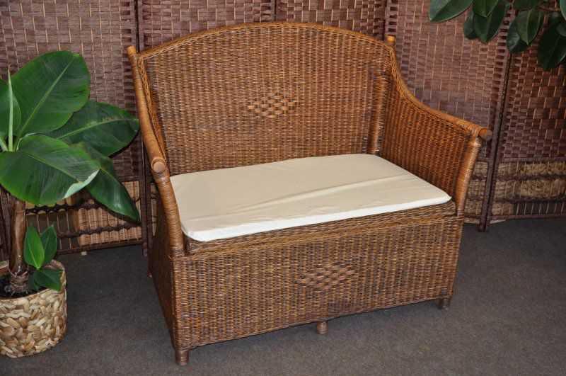 Ratanová lavice s úložným prostorem brown wash