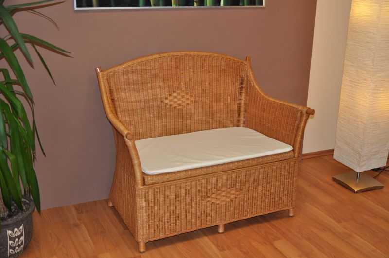 Ratanová lavice s úložným prostorem medová SLEVA 7 % | RYCHLÉ DODÁNÍ