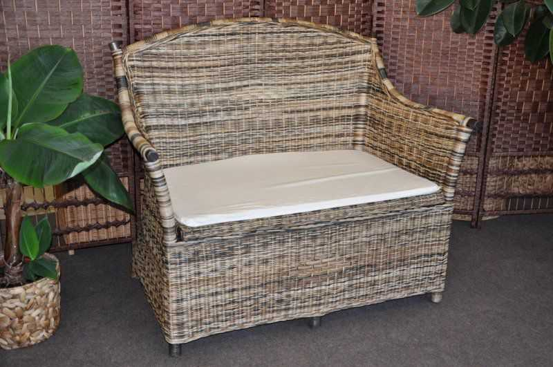 Ratanová lavice s úložným prostorem wicker mix SLEVA 7 % | RYCHLÉ DODÁNÍ