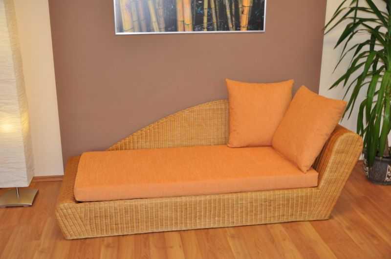 Ratanová odpočinková pohovka medová levá polstr oranžový SLEVA 7 % | RYCHLÉ DODÁNÍ