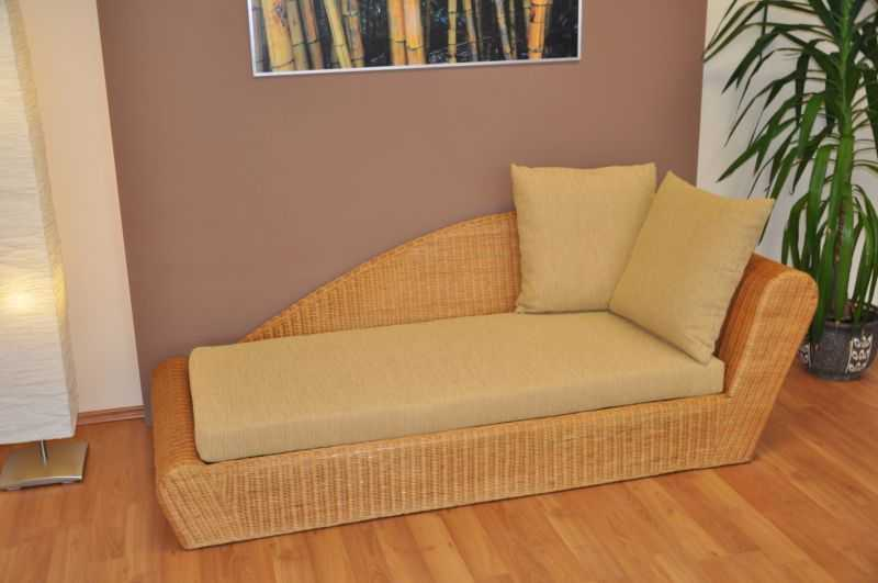 Ratanová odpočinková pohovka medová levá polstr žlutý SLEVA 7 % | RYCHLÉ DODÁNÍ