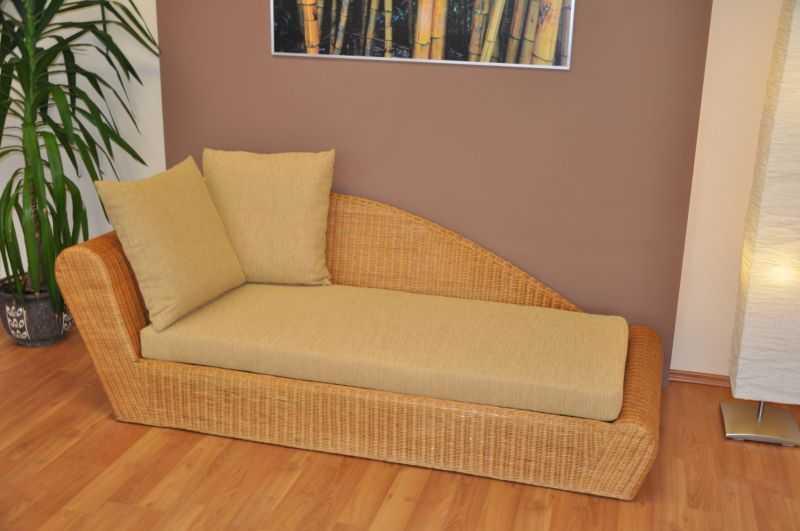 Ratanová odpočinková pohovka medová pravá polstr žlutý SLEVA 7 % | RYCHLÉ DODÁNÍ
