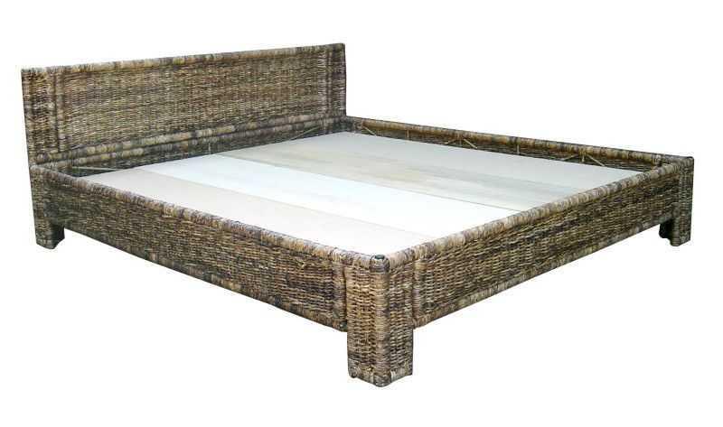 Ratanová postel 180 / čelo 40 - banánové listí | RYCHLÉ DODÁNÍ