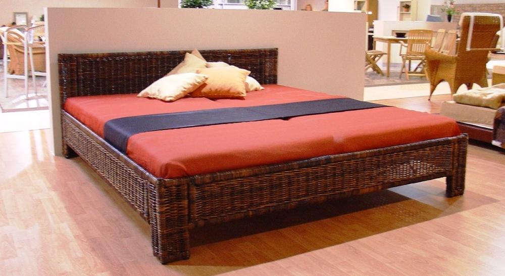 Ratanová postel 180 / čelo 60 - černý ratan SLEVA 10 % | RYCHLÉ DODÁNÍ | DOPRAVA ZDARMA