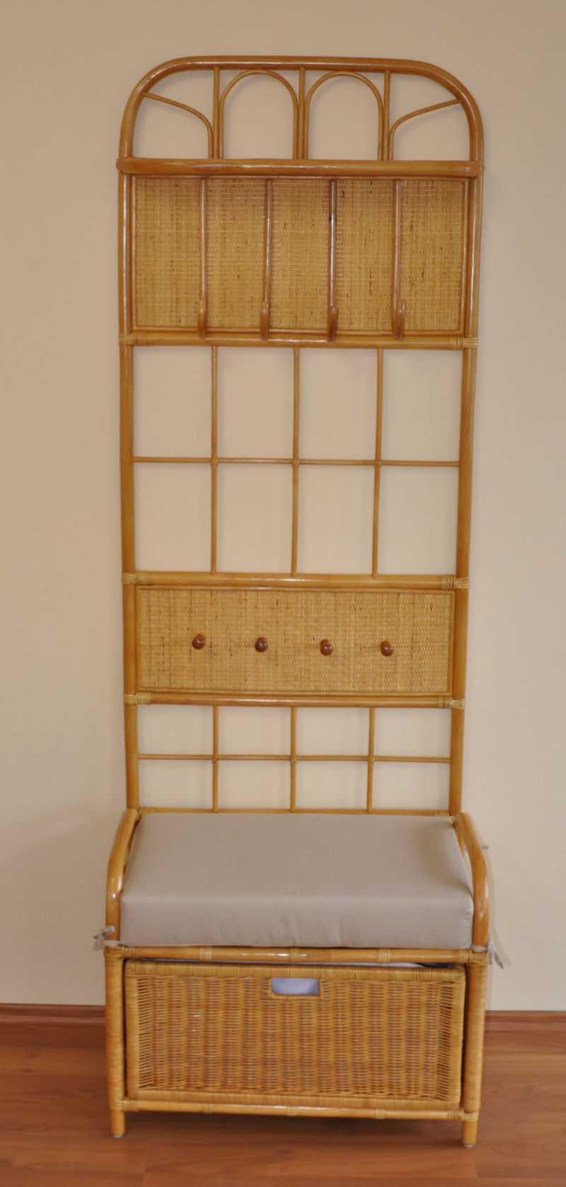 Ratanová předsíňová stěna Amanda + taburetka se zásuvkou SLEVA 10 % | RYCHLÉ DODÁNÍ