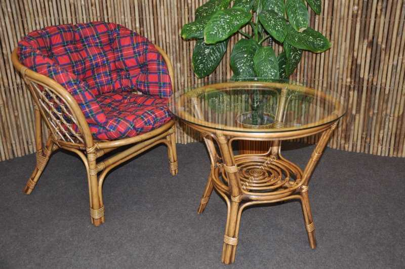Ratanová sedací souprava Bahama 1+1 brown wash polstr červený MAXI SLEVA 7 % | RYCHLÉ DODÁNÍ