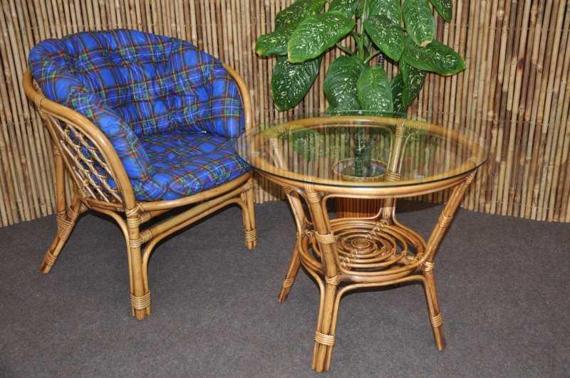 Ratanová sedací souprava Bahama 1+1 brown wash polstr modrý MAXI SLEVA 7 % | RYCHLÉ DODÁNÍ