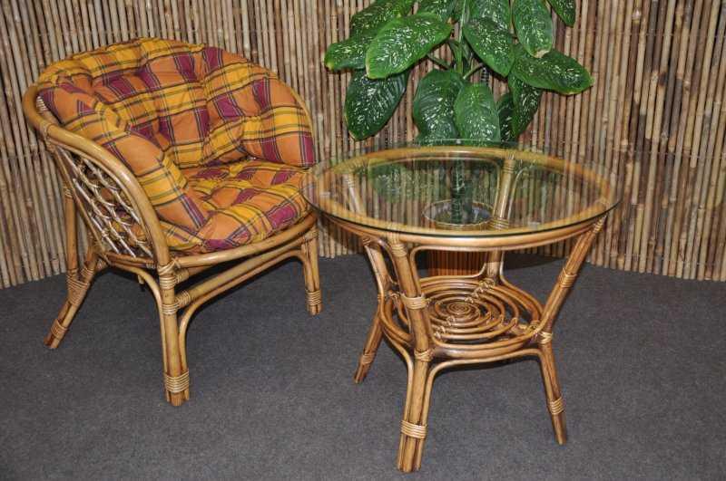 Ratanová sedací souprava Bahama 1+1 brown wash polstr okrový MAXI SLEVA 7 % | RYCHLÉ DODÁNÍ