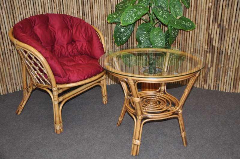 Ratanová sedací souprava Bahama 1+1 brown wash polstr vínový MAXI SLEVA 7 % | RYCHLÉ DODÁNÍ