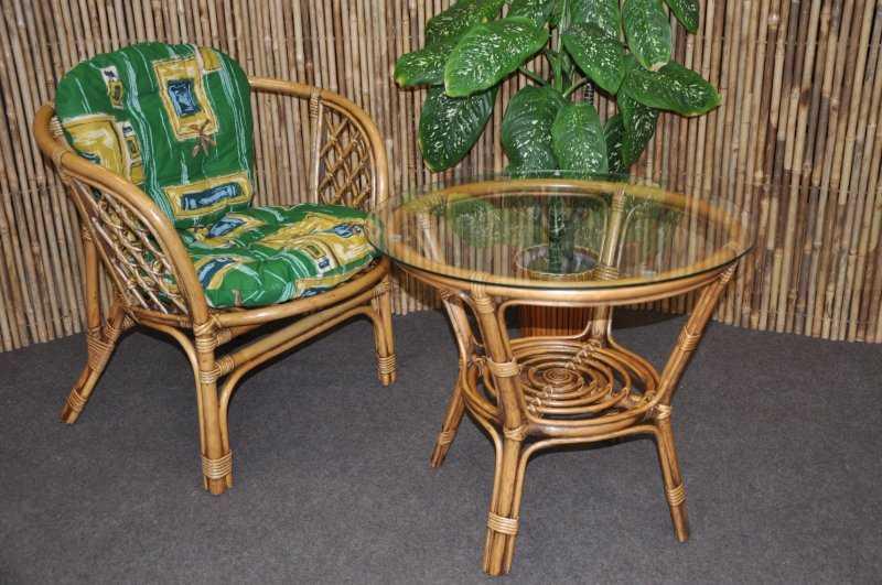 Ratanová sedací souprava Bahama 1+1 brown wash polstr zelený SLEVA 7 % | RYCHLÉ DODÁNÍ