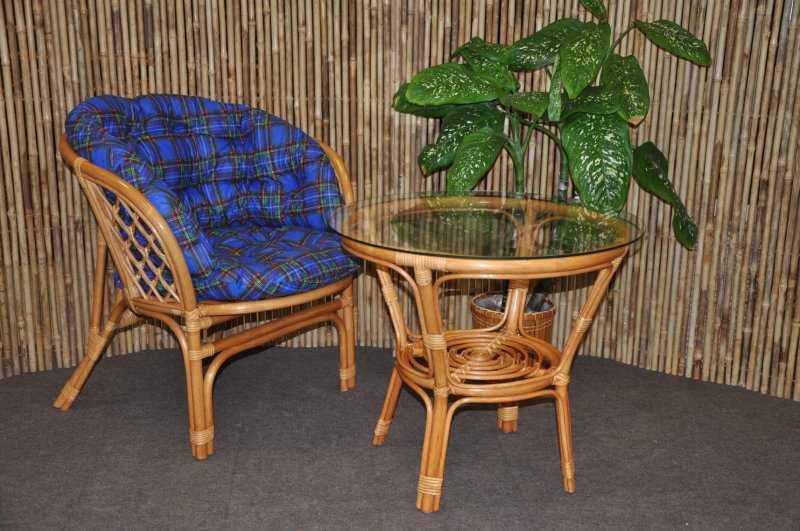 Ratanová sedací souprava Bahama 1+1 medová, polstr modrý MAXI SLEVA 7 % | RYCHLÉ DODÁNÍ