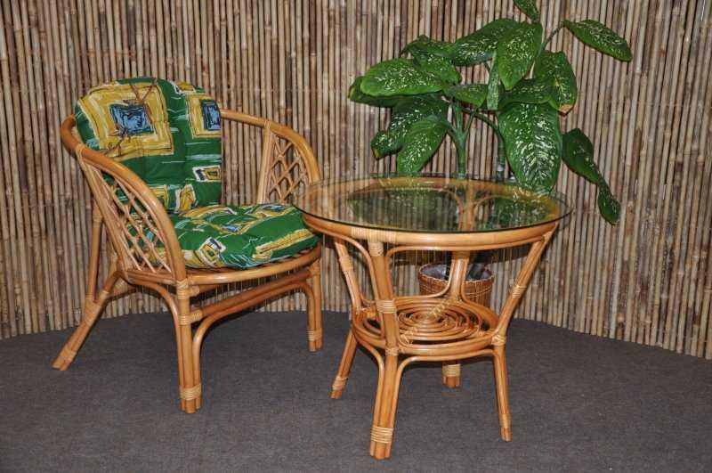 Ratanová sedací souprava Bahama 1+1 medová, polstr zelený SLEVA 7 % | RYCHLÉ DODÁNÍ