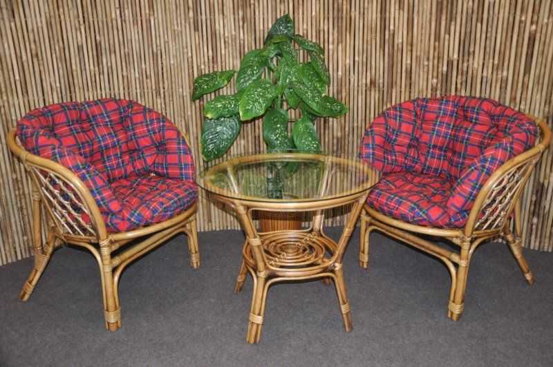 Ratanová sedací souprava Bahama 2+1 brown wash polsr čevený MAXI SLEVA 7 % | RYCHLÉ DODÁNÍ