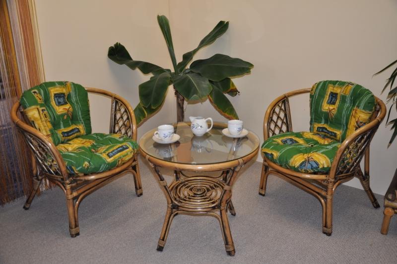 Ratanová sedací souprava Bahama 2+1 brown wash polstr zelený SLEVA 7 % | RYCHLÉ DODÁNÍ