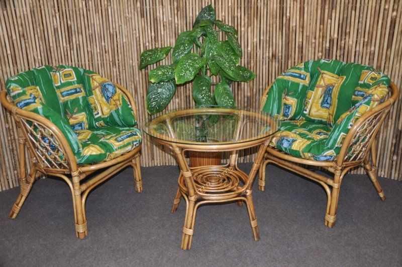 Ratanová sedací souprava Bahama 2+1 brown wash polsr zelený MAXI SLEVA 7 % | RYCHLÉ DODÁNÍ