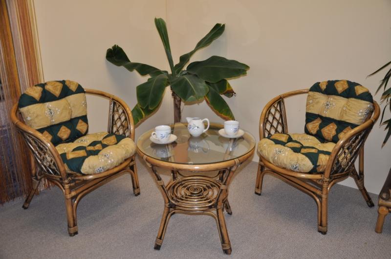 Ratanová sedací souprava Bahama 2+1 brown wash polstr zelený motiv SLEVA 7 % | RYCHLÉ DODÁNÍ