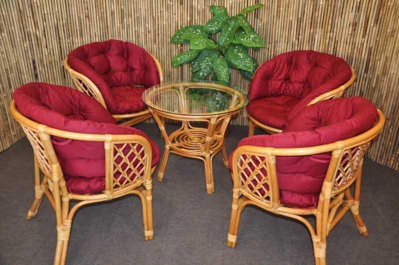 Ratanová sedací souprava Bahama 4+1 medová, polstr MAXI vínový SLEVA 8 % | RYCHLÉ DODÁNÍ