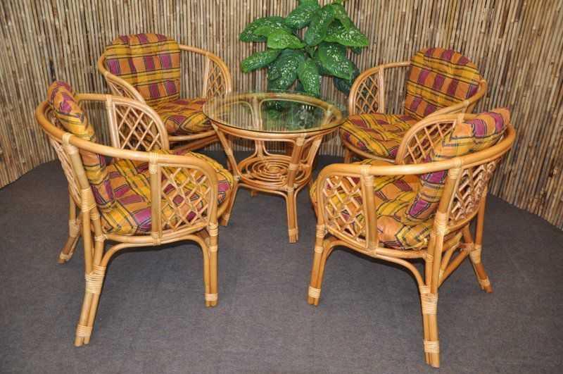 Ratanová sedací souprava Bahama 4+1 medová, polstr okrový SLEVA 8 % | RYCHLÉ DODÁNÍ