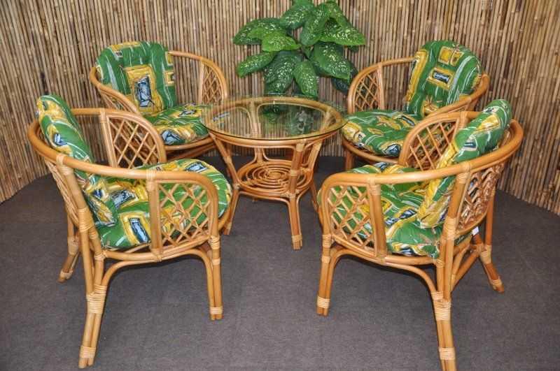 Ratanová sedací souprava Bahama 4+1 medová, polstr zelený SLEVA 7 % | RYCHLÉ DODÁNÍ