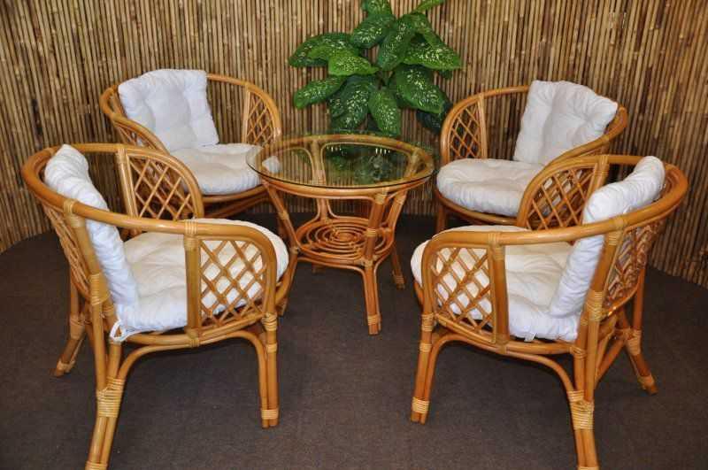 Ratanová sedací souprava Bahama 4+1 medová, polstry bílé SLEVA 9 % | RYCHLÉ DODÁNÍ