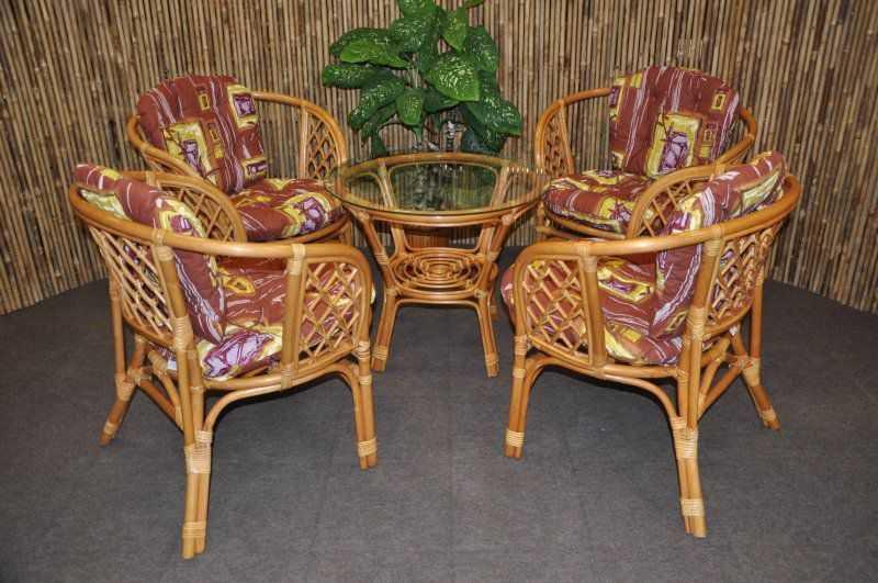 Ratanová sedací souprava Bahama 4+1 medová, polstry hnědý list SLEVA 7 % | RYCHLÉ DODÁNÍ