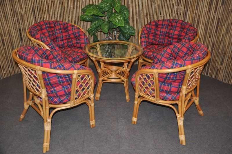 Ratanová sedací souprava Bahama 4+1 medová, polstry MAXI červené SLEVA 8 % | RYCHLÉ DODÁNÍ