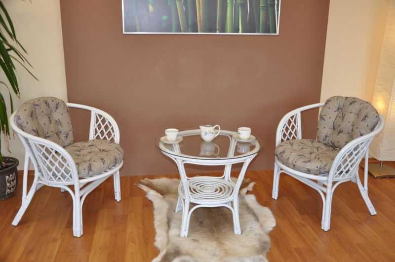Ratanová sedací souprava Bahama bílá 2+1, polstry levandule SLEVA 7 % | RYCHLÉ DODÁNÍ
