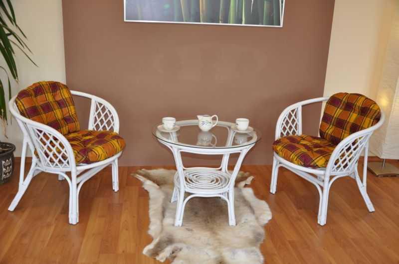 Ratanová sedací souprava Bahama bílá 2+1, polstry okrová kostra SLEVA 7 % | RYCHLÉ DODÁNÍ