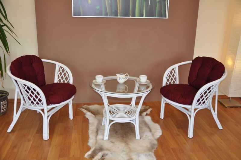 Ratanová sedací souprava Bahama bílá 2+1, polstry vínové