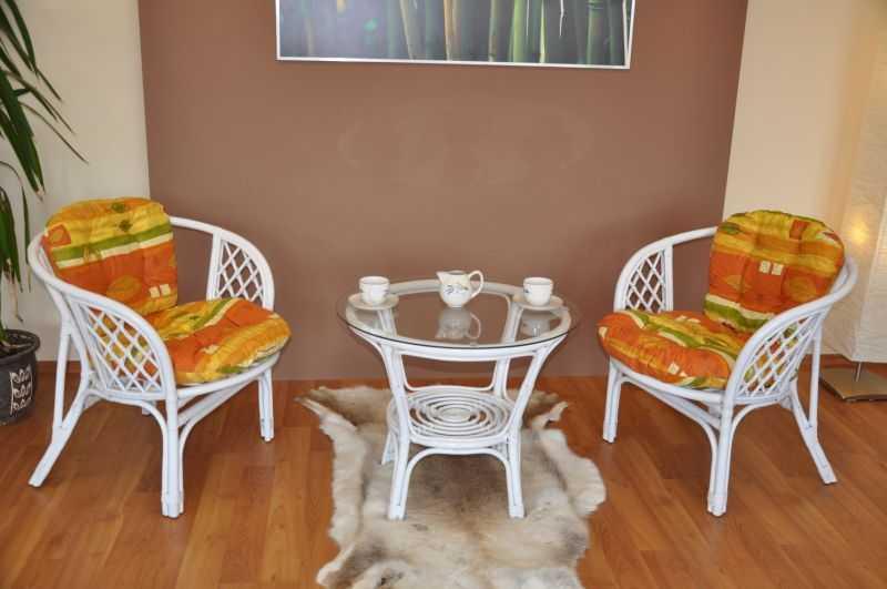 Ratanová sedací souprava Bahama bílá 2+1, polstry žlutý motiv