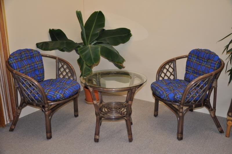 Ratanová sedací souprava Bahama hnědá 2+1, modrý polstr SLEVA 7 % | RYCHLÉ DODÁNÍ