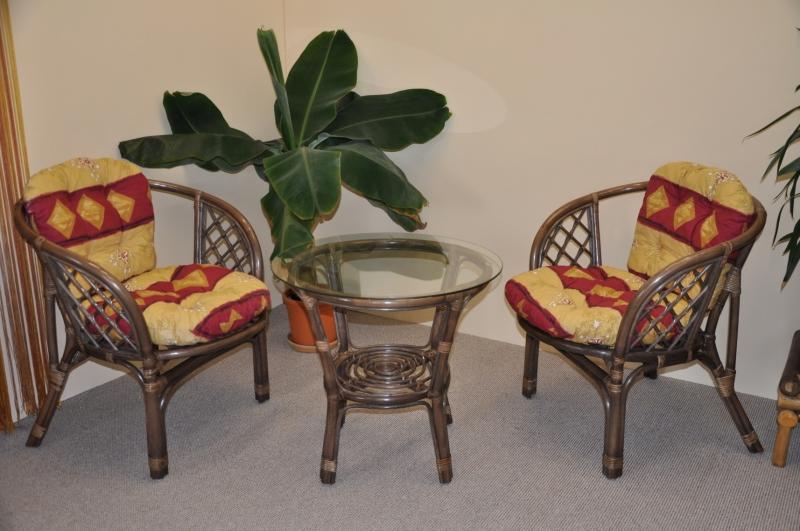 Ratanová sedací souprava Bahama hnědá 2+1 polstry vínový motiv