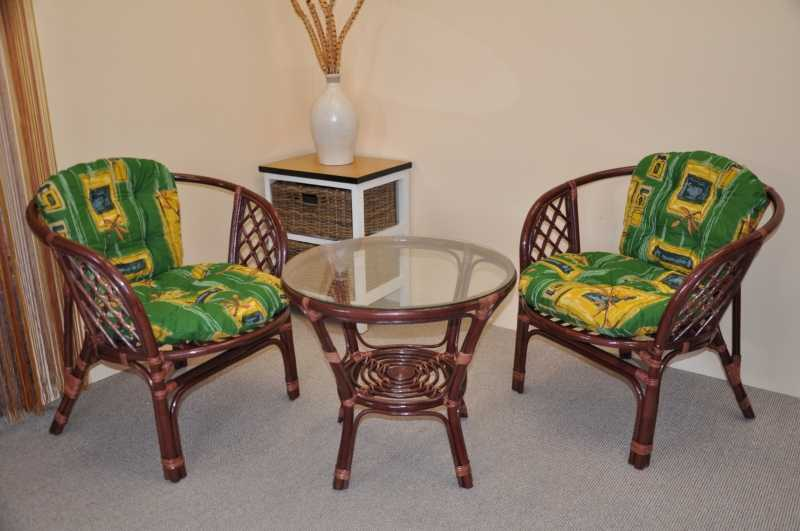 Ratanová sedací souprava Bahama mahagon 2+1, polstry zelené SLEVA 7 %   RYCHLÉ DODÁNÍ