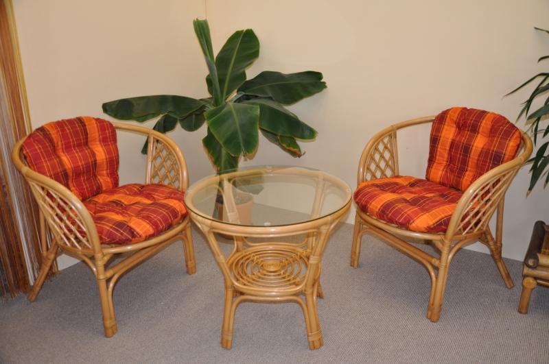 Ratanová sedací souprava Bahama malá medová polstry oranžová kostka SLEVA 7 % | RYCHLÉ DODÁNÍ