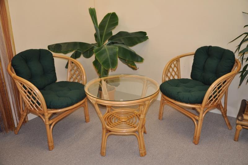 Ratanová sedací souprava Bahama malá medová polstry zelený dralon SLEVA 7 % | RYCHLÉ DODÁNÍ