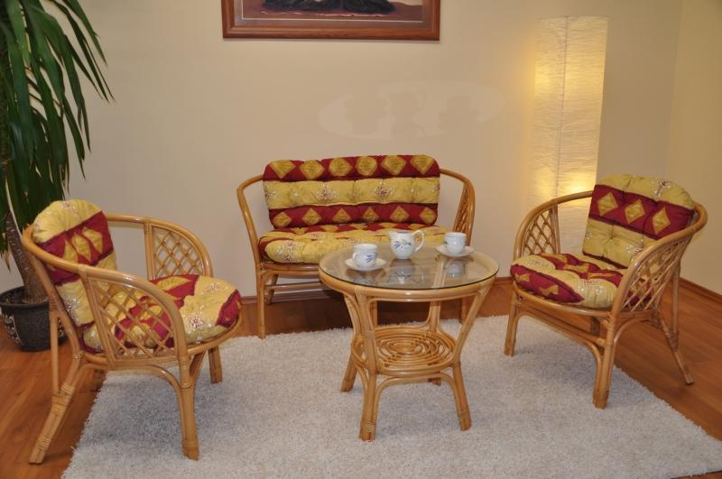 Ratanová sedací souprava Bahama velká, polstry vínový motiv