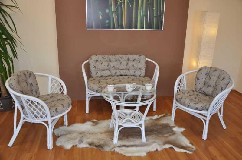 Ratanová sedací souprava Bahama velká bílá, polstr levandule SLEVA 7 % | RYCHLÉ DODÁNÍ
