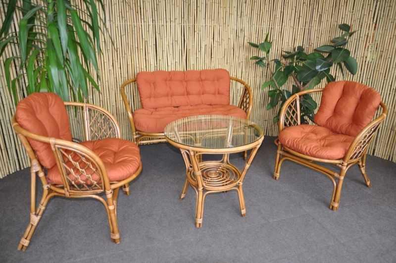 Ratanová sedací souprava Bahama velká Brown wash, polstr pískový SLEVA 7 % | RYCHLÉ DODÁNÍ