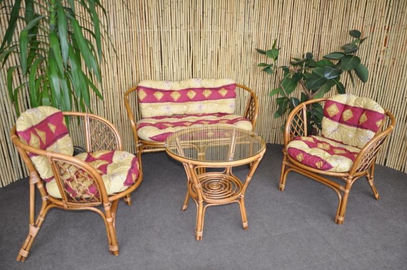 Ratanová sedací souprava Bahama velká Brown wash, polstr vínový motiv SLEVA 7 % | RYCHLÉ DODÁNÍ