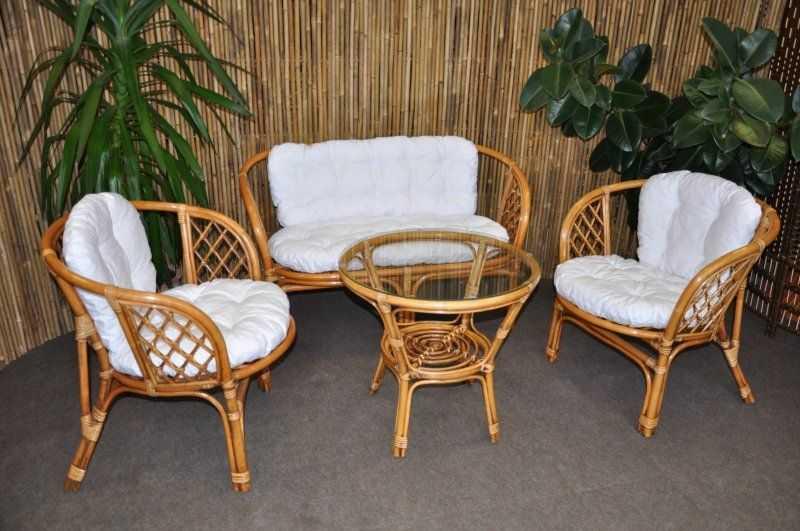 Ratanová sedací souprava Bahama velká BW, polstr bílý SLEVA 7 % | RYCHLÉ DODÁNÍ